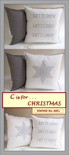 """LET IT SNOW . . . SNOWFLAKE . . . Add one or two of these New pillows to your Christmas 2015 Decor . . . Bring a """"Touch of Winter"""" into your Christmas Celebration . . . Embroidered Pillow Cover . . . $26 . . . by #SEWINGtheABCs on Etsy. . . . SIGN-UP for Email Notifications at www.sewingtheabcs.com. . . . #ChristmasPillows #HolidayPillows #LetItSnow #Snowflake #ChristmasDecor #EmbroideredPillow"""