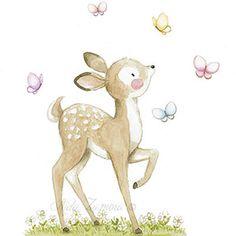 Ilustración infantil ciervo con mariposas
