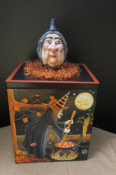 OOAK Halloween Box Handpainted Vintage by Creativelyjuiced on Etsy Haunted Tree, Halloween Artwork, Creepy Art, W 6, Primitives, All Art, Crow, Art Dolls, Goth