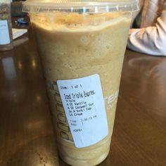 Starbuck Venti Iced Espresso Triple With 4 SF Vanilla Caramel Light Breve And