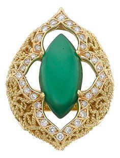 Chrysoprase, Diamond, Gold Ring, Cynthia Bach