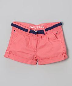 Rose Twill Shorts & Belt - Girls by Nautica #zulily #zulilyfinds