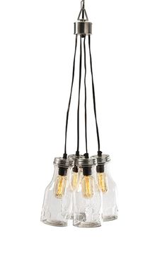 In the olden days, glass bottles were used to shield candles from the wind and allowed them to stay lit for long periods of time. Luckily, we have convenient electricity now, and creative designers who...  Find the Hanging Glass Bottle Light Fixture, as seen in the A Road Trip Up the California Coast Collection at http://dotandbo.com/collections/a-road-trip-up-the-california-coast?utm_source=pinterest&utm_medium=organic&db_sku=IMX0073