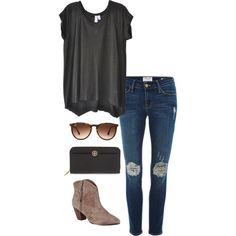 ripped jeans by kcunningham1 on Polyvore featuring Wilt, Frame Denim, Ash, Tory Burch and Ray-Ban
