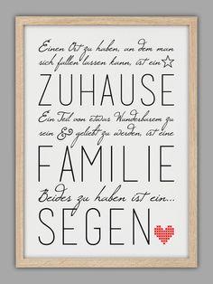 """""""FAMILIE IST EIN SEGEN"""" Kunstdruck von Smart-Art Kunstdrucke auf DaWanda.com"""