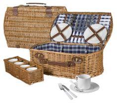 Wiklinowy koszyk piknikowy ze sztućcami dla 4 osób