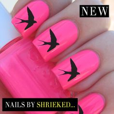 Black Swallow Decal Designs For Nails Water Transfers Celebrity Style Manicure