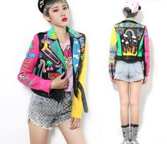 Cheap leather picture, Buy Quality leather short jacket directly from China leather jackets men style Suppliers: New Crazy style Graffiti Pattern PU Leather for Women Jacket With a Belt and Zippers Woman Motorcycle Short Leather Faux Leather Jackets, Leather Men, Jackets For Women, Clothes For Women, Mens Fashion, Fashion Outfits, Harajuku Fashion, Latest Fashion, Leather Shorts