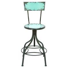 Antiqued teal bar stool