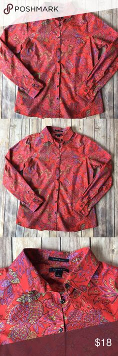 """Lands End Red Coral Pink Floral Print Button Down Lands End Red Coral Pink Floral Lotus Tropical Print Button Down Long Sleeve Blouse. Beautiful print that is unique and versatile. Size 6. Great for spring and summer. Wear with slacks for a great pop of color to work. Add to your jeans for a casual day out. No iron supima fabric makes this look effortless. Excellent condition. Measurements when laid flat: 19.5"""" armpit to armpit, 25"""" length. Fast shipping. Smoke free and pet free home. No…"""