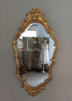 Gold Mirror Vintage Beveled Wall Hanging Bathroom by FarmHouseFare