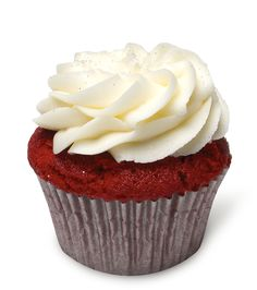 """The Marilyn – Buttery and smooth red velvet cupcake dressed in rich cream cheese frosting. """"They always said she was a quiet girl."""""""
