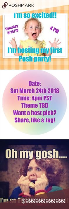 🌸Please share🌸Hosting my 1st Posh Party 3/24/18! ❤️❤️Calling all PFFs!❤️❤️ 🌸I'm so excited to be co-hosting my first posh party.🌸 💕Please share, like and tag your PFFs💕 Date: March 24th, 2018 Time: 4 PM PST Theme TBD Tops Sweatshirts & Hoodies