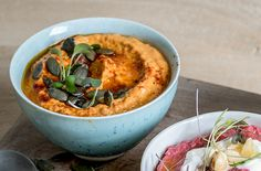 Roasted red pepper hummus is a healthy and colourful dip inspired by the flavours of the Mediterranean. Pea Recipes, Lunch Recipes, Healthy Recipes, Curry Chicken And Rice, Red Pepper Hummus, Couscous Recipes, Chutney Recipes, Hummus Recipe, Caribbean Recipes