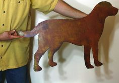 "Labrador Retriever Metal Wall Art - 30"" Wide - Dog Silhouette Painted Rusted…"