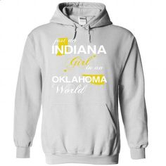 (INJustVang002) Just An Indiana Girl In A Oklahoma Worl - #blusas shirt #black tshirt. CHECK PRICE => https://www.sunfrog.com/Valentines/-28INJustVang002-29-Just-An-Indiana-Girl-In-A-Oklahoma-World-White-Hoodie.html?68278