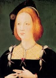 Mary Tudor, b.18 March 1496 Richmond Palace, Surrey, England.  d.25 June 1533 (aged 37)  Westhorpe, Suffolk, England. She was the fifth child and third daughter of Henry VII and Elizabeth of York. She marries first, Louis XII of France in 1514 and on his death, Charles Brandon, 1st Duke of Suffolk in 1515, much to the annoyance of her brother, Henry VIII. It is through this marriage that she becomes grandmother to Lady Jane Grey, known as the 'Nine Days Queen'.