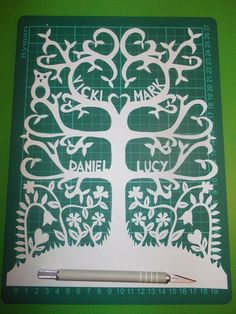 Original hand drawn family tree commissioned papercut by Nina Byers
