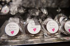 Whoopie pie wedding favors! A 1950s black & white, vintage glam wedding at the Meadowlark Botanical Gardens in Northern Virginia. Images by Michael Clark.