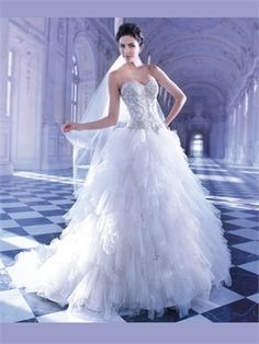 White A Line Sweetheart Beads Tulle 2014 Wedding Dresses AWD100002