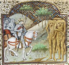 Detail of a miniature of Alexander encountering blemmyae, from Poems and Romances (the 'Talbot Shrewsbury book'), France (Rouen), c. 1445