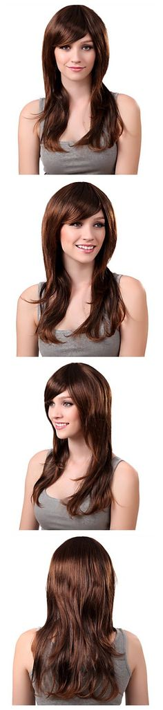 Capless Long Synthetic Brown Straight Hair Wig Side Bang