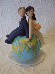 Custom travel wedding cake topper. $45.00, via Etsy.  So cute!
