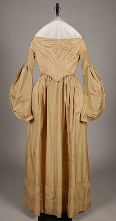 Tan silk evening dress (without matching bertha), American, 1837-40.