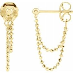 52376 / Earring / 14K Yellow / Pair / Push-on Backs Included / Polished / Front to Back Bead Chain Earrings Chain Earrings, Dangle Earrings, Fancy Earrings, Silver Jewelry, Fine Jewelry, Women's Jewelry, Pendant Design, Earring Backs, Gold Beads