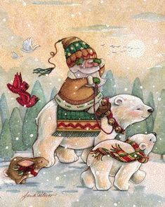 Captivating Christmas artwork by artist Janet Stever is available for license through Porterfield's Fine Art Licensing. Christmas Artwork, Christmas Paintings, Noel Christmas, Christmas Animals, Christmas Pictures, Christmas Projects, Vintage Christmas, Christmas Cards, Xmas