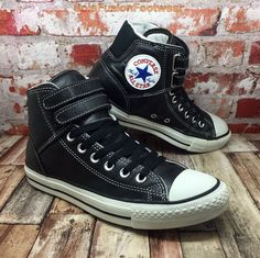 Converse Mens All Star Leather Trainers Black sz 7 Strap Sneakers Womens US 9 40 | eBay