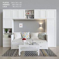 Wardrobe bed and table Ikea Platsa Hemnes Lack Bedroom Closet Design, Girl Bedroom Designs, Room Ideas Bedroom, Small Room Bedroom, Bedroom Decor, Master Bedroom, Wardrobe Bed, Daybed Room, Guest Room Office