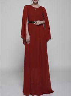 Elegant Cape Maxi Evening Dress