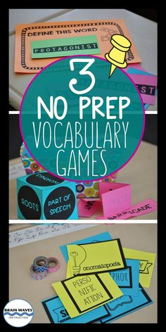 Check out these three No-Prep, No-Hassle, No-Excuses Vocabulary Games you can use with any sets of words. There's even an EXCLUSIVE FREEBIE with sets of words, a poster, and a vocabulary cube! Vocabulary Strategies, Vocabulary Instruction, Academic Vocabulary, Teaching Vocabulary, Teaching Spanish, Vocabulary Words, Teaching Reading, Teaching English, English Vocabulary