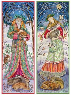 "21-12-2014 sunday winter solstice. ""WOODLAND GUARDIANS -  SAGE AND MAIDEN"" Solstice/Yule cards by Wendy Andrew"