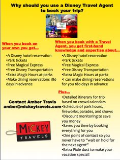 Thinking about going to Disney World and want some extra assistance? Why you should use a Disney travel agent amber@mickeytravels.com