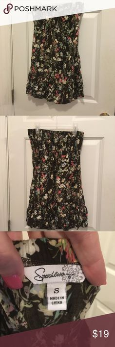 "Cute Size Small Strapless Sundress Super cute size small floral print strapless sundress, elastic at bust and waist for comfort and a secure fit, a fun multi-color floral print, and a flirty ruffle hemline! Measurements are as follows: bust 15"" to 20"", waist 13"" to 17"" and a length from bust to hemline of 23"". No rips, stains, fading or piling, excellent condition and gently used, perfect for summer, the beach or any fun activities! Not Anthropologie but similar style. Anthropologie Dresses"