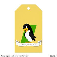 Cute penguin cartoon pack of gift tags