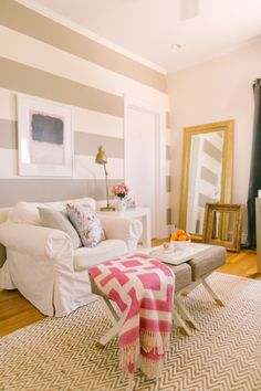 Gray and white striped walls: http://www.stylemepretty.com/living/2015/08/08/a-pop-of-stripe-interior-decor-details/