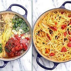 Tomato Basil Pasta - No Straining, just Stirring Makes a great almost creamy sauce.