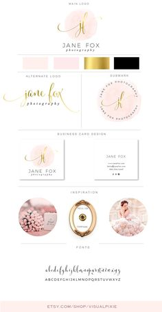 PREMIUM Branding Package Logos & Business Card Design Gold Signature Ornament Calligraphy Photography Logo Salon Event Planner Makeup Artist  This