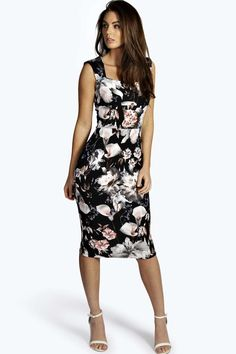 Floral Print Sweetheart Midi Bodycon Dress black