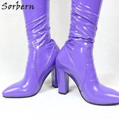 Sorbern Custom Pant Boots Crotch Thigh High Block Heel Boot With Belt Purple Stretched Clubwear High Heel Boot Unisex Ladyboy _ - AliExpress Mobile Black Thigh High Boots, High Heel Boots, Heeled Boots, High Heels, Block Heel Boots, Block Heels, Clubwear, Thigh Highs, Over The Knee Boots
