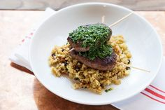 """Merguez-Style Brochettes with Cauliflower """"Couscous"""" & Salsa Verde - Blue Apron. Note: the spices. Salsa Verde, Cauliflower Couscous, Clean Eating, Healthy Eating, Cata, Paleo Recipes, Paleo Meals, Meat Recipes, The Fresh"""