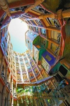 Casa Mila in Barcelona, Spain. So colorful!