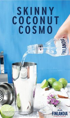 Transport yourself to a spectacular tropical destination with just one sip of this Skinny Coconut Cosmo! Finlandia Vodka, coconut water, lime juice, coconut extract, and orange extract are all you need to make this refreshing cocktail this season. Your friends may even say this crisp mixed drink is your signature creation!