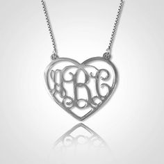 Monogram Necklace Personalized Heart by PersonalizeMeJewelry, $49.00    I want my grandma's name on this - initials or DOT - what I call her.