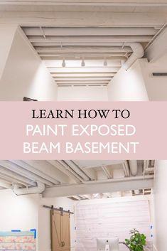 Exposed beams in basement ceiling no drop ceiling | painting ceiling white | ceiling painting | exposed beams | #basementceiling #ceilingideas #exposedbeams #basementbeams #basementideas #basementdiy