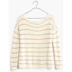 MADEWELL Sézane® Striped Boatneck Sweater ($130) ❤ liked on Polyvore featuring tops, sweaters, ivory, madewell sweaters, stripe sweater, white top, ivory sweater and boat neck sweater
