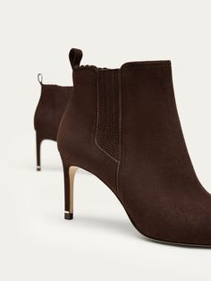 Spring Summer 2017 Women´s BROWN SUEDE LEATHER HIGH HEEL ANKLE BOOTS at Massimo Dutti for 54990. Effortless elegance!